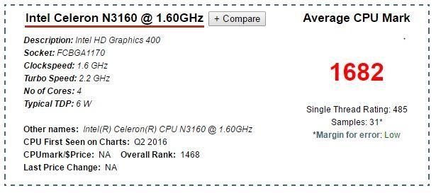 CPU N3160