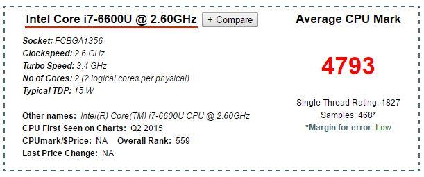 Processore Skylake mobile i7 6600U