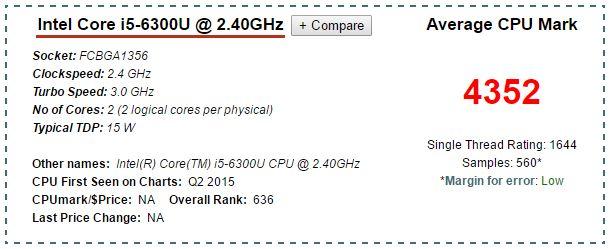 Processore Skylake mobile i5 6300U