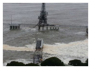 Photo of the damage to the chipmill jetty and loading facilities