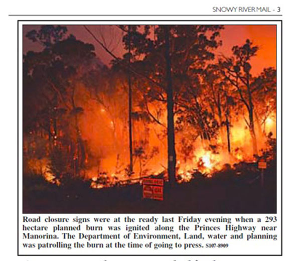Snowy River Mail photo of a planned 'cool burn' by the dept