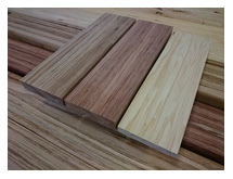 3Wood blocks manufactured from (left to right) Blackbutt, Bluegum and Radiata Pine