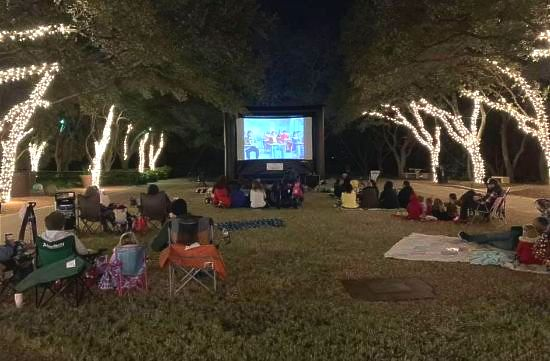 Outdoor Movie Night with Lights