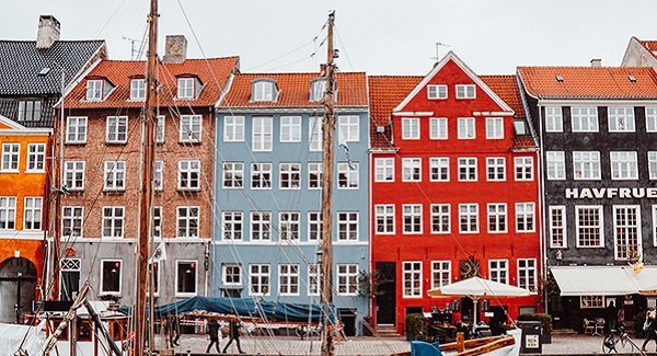 Photo of colourful Copenhagen houses.