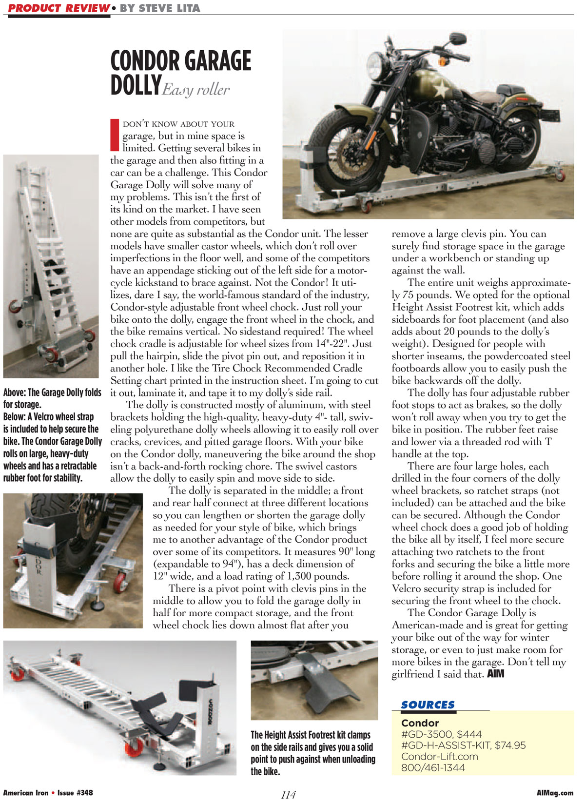 American Iron Magazine Reviews Condor Garage Dolly