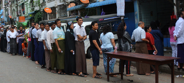 Voters queue in Rangoon