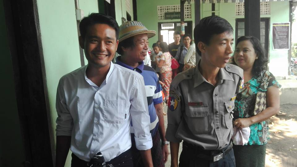 Maung Saungkha outside the court after a court hearing.