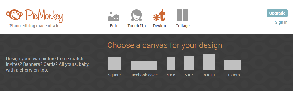 PicMonkey - start your design