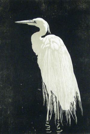 """Walther Klemm """"Silberreiher"""", Farbholzschnitt 1910"""