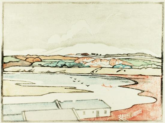 "Arabella Louisa Rankin, ""Coastal Inlet"", Colour Woodcut, ca. 1920"