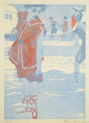 "Hans Neumann jr., ""Badefreuden"", Farbholzschnitt 1903"