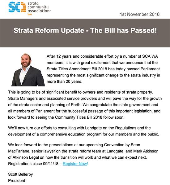 SCA WA Reforms