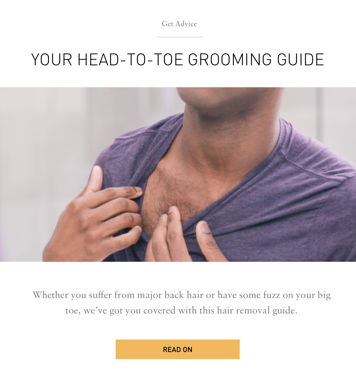 Get Advice YOUR HEAD-TO-TOE GROOMING GUIDE