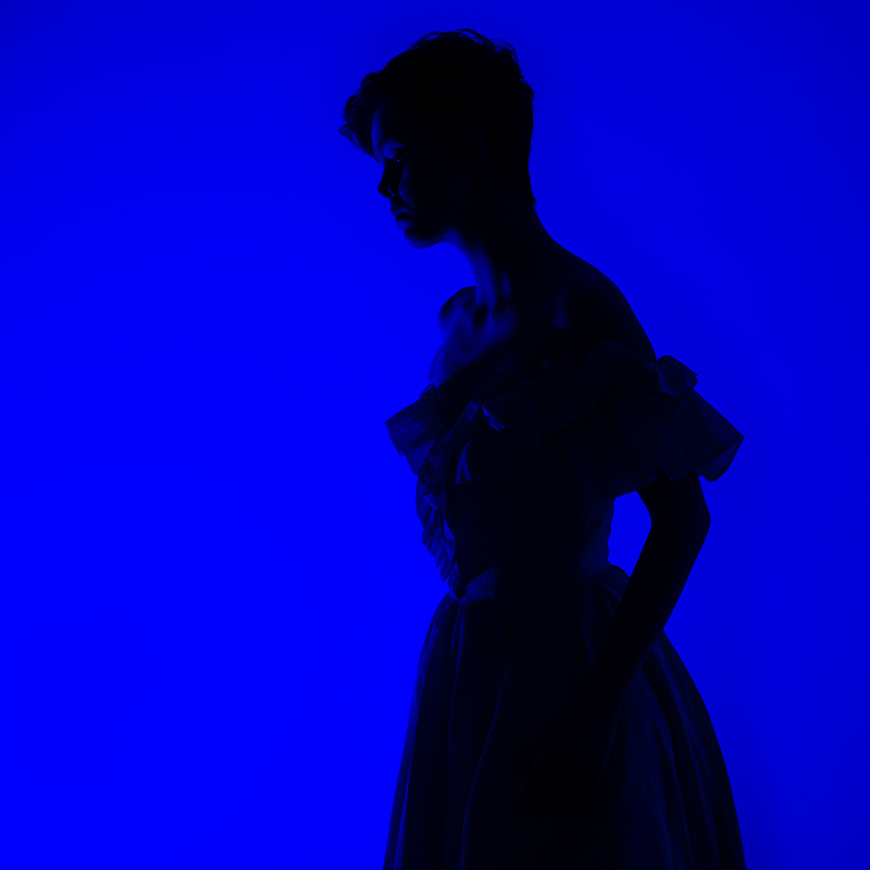 Woman in silhouette on cobalt background created with FACTOR Prizmo Lights