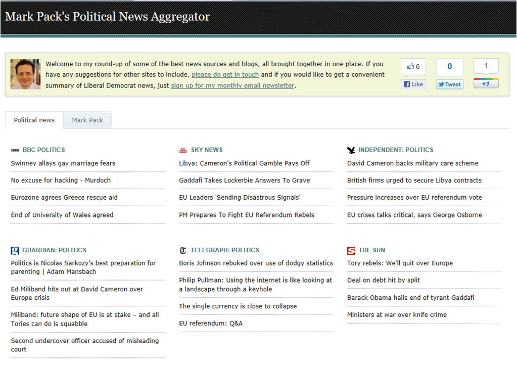 Mark Pack's Political News Aggregator