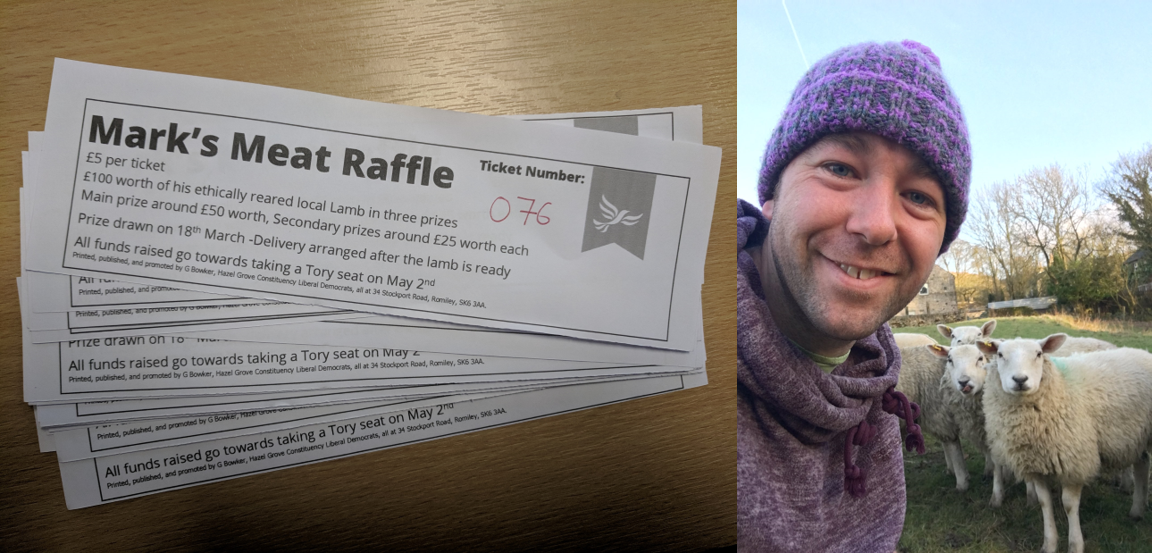 Mark Roberts's meat raffle tickets and Mark Roberts on his smallholding