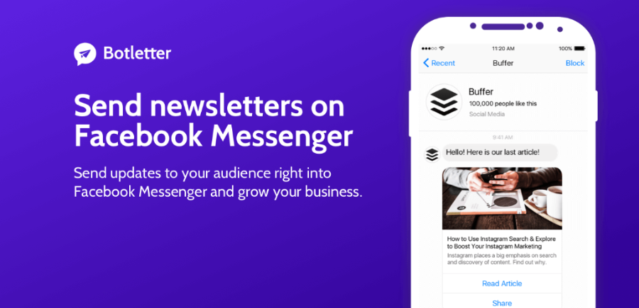 Botletter advert: how to send newsletters on Facebook
