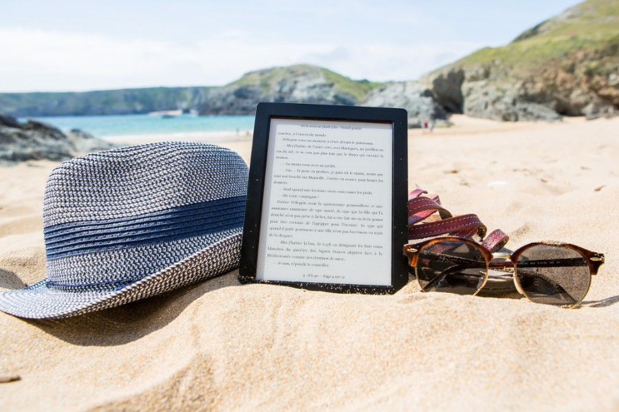 An ebook on the beach