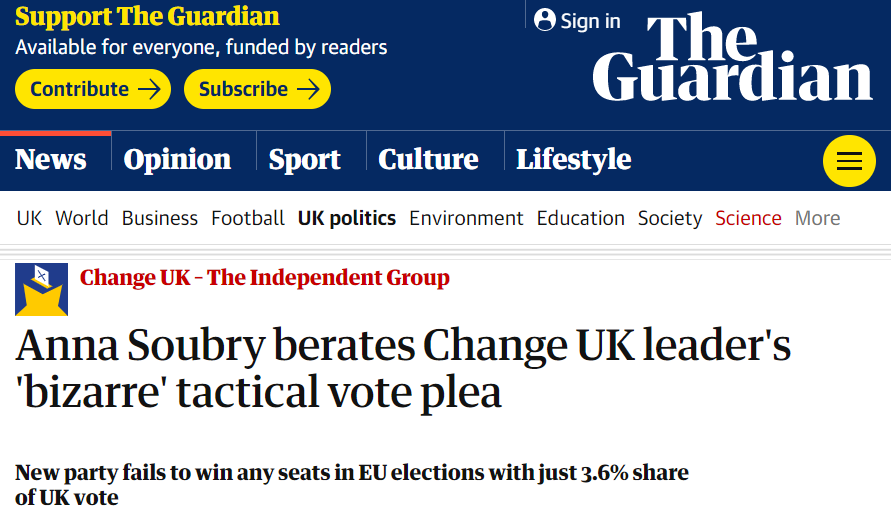 Guardian newspaper headline on splits in Change UK over attitude towards Lib Dems