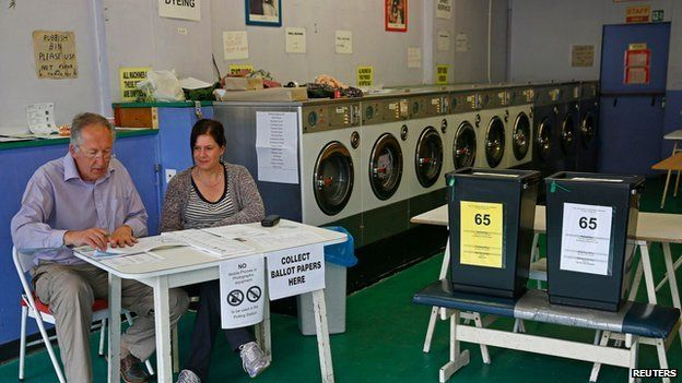 Polling station in a laundrette