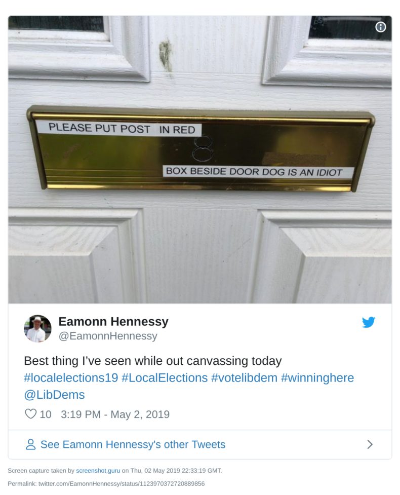 Political leafleters warned about dog with letterbox sign