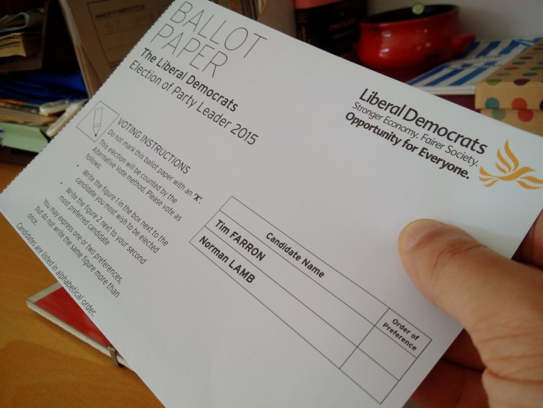 Lib Dem leadership contest 2015 ballot paper