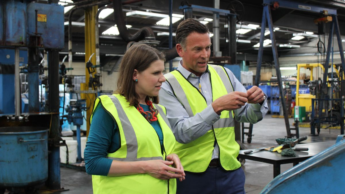 Jo Swinson at PW Hall Ltd in Kirkintilloch - photo from JoSwinson.org.uk