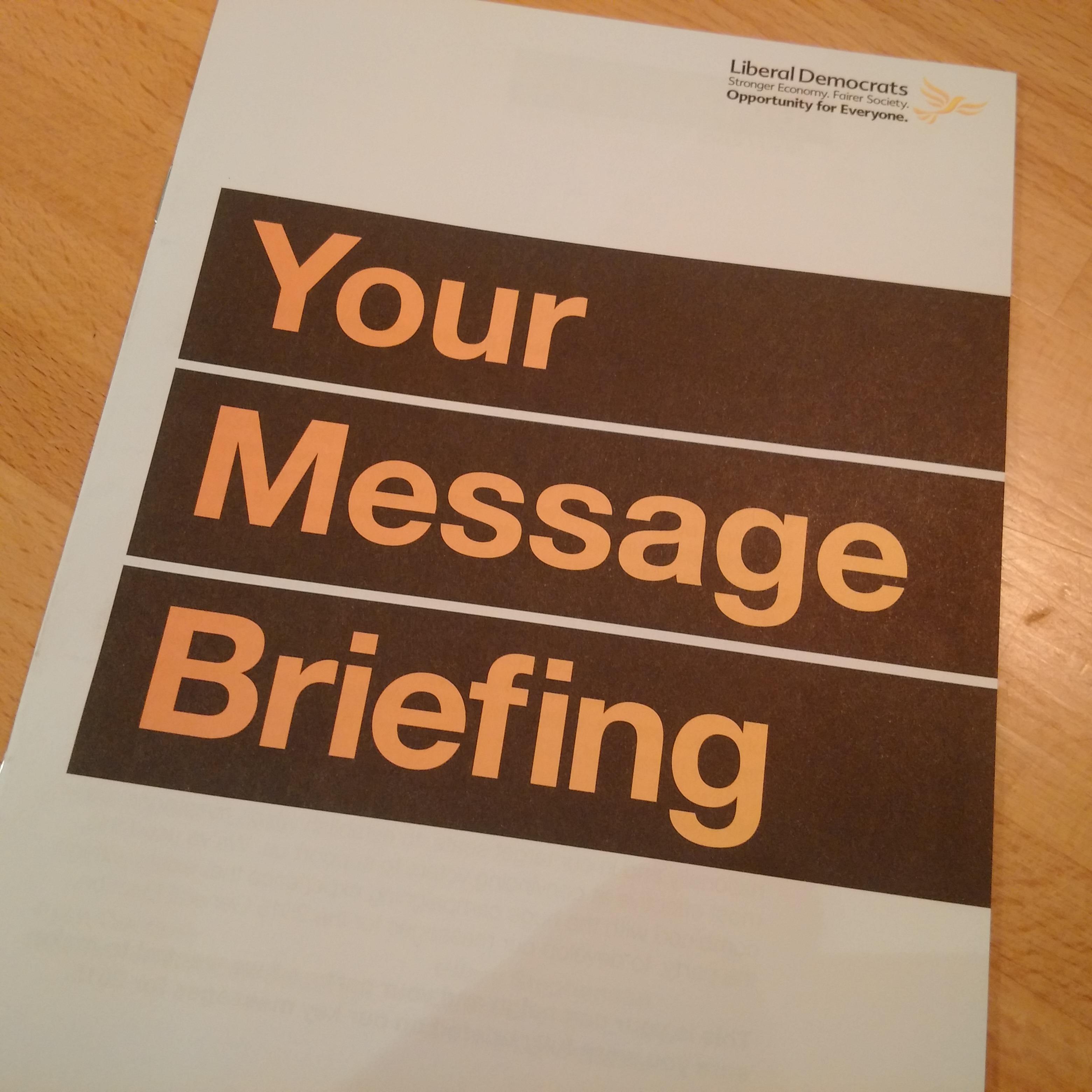Lib Dem message briefing document