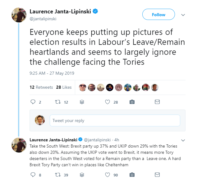 Laurence Janta-Lipinski on Twitter - Everyone keeps putting up pictures of election results in Labour Leave-Remain heartlands and seems to largely ignore the challenge facing the Tories