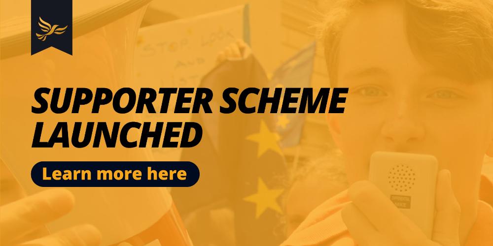 Lib Dem supporter scheme banner
