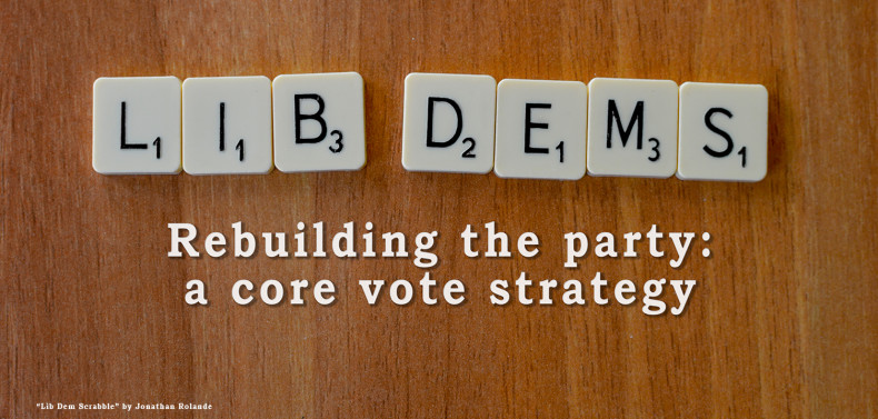 Lib Dem party name spelled out in Scrabble pieces