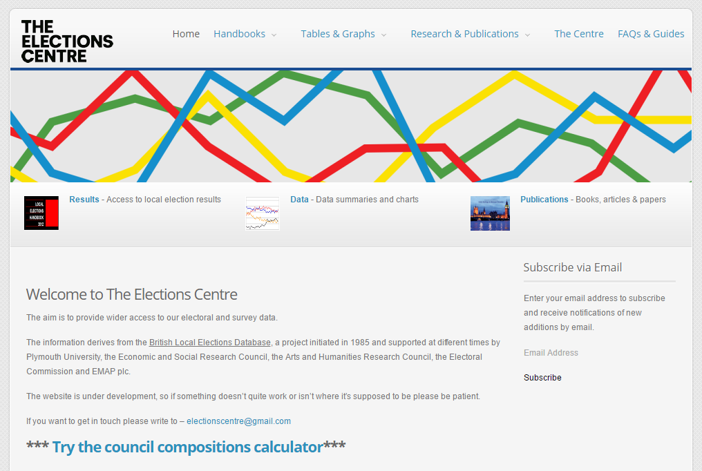 The Elections Centre website - screenshot