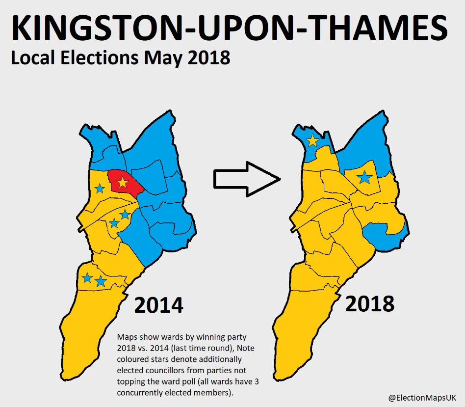 Map of the Liberal Democrat gains in Kingston-upon-Thames
