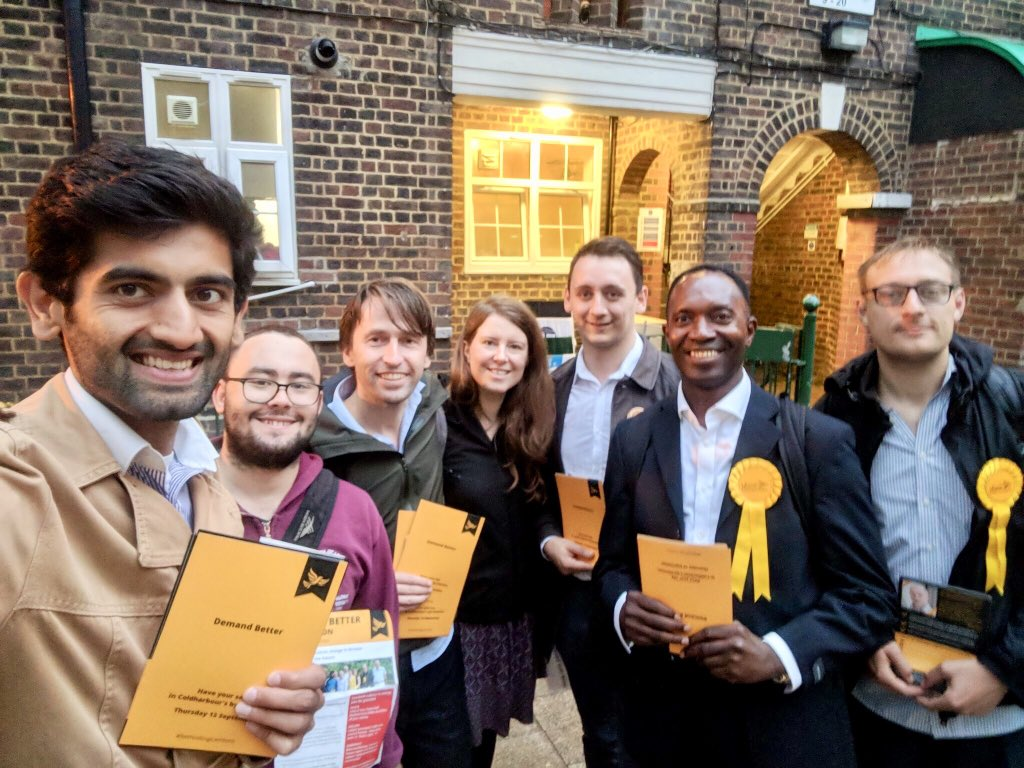 Liberal Democrats out campaigning with the Demand Better slogan