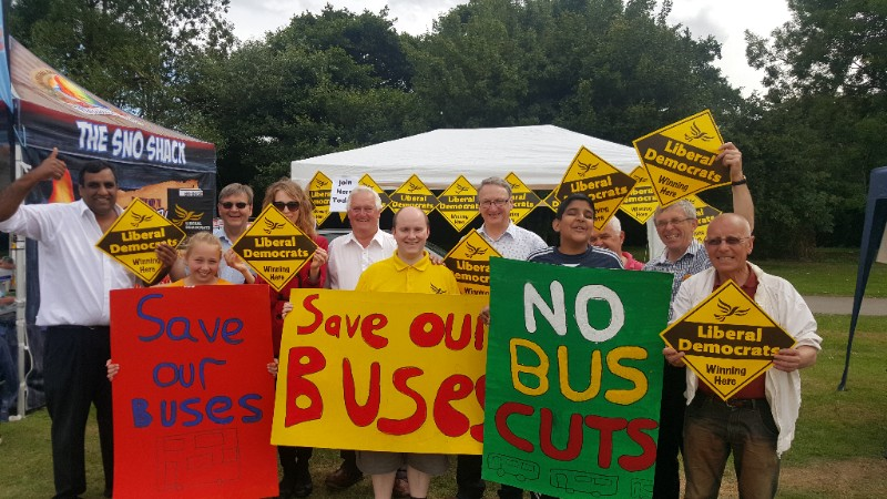 Liberal Democrat campaigners in Sheffield opposing local transport cuts