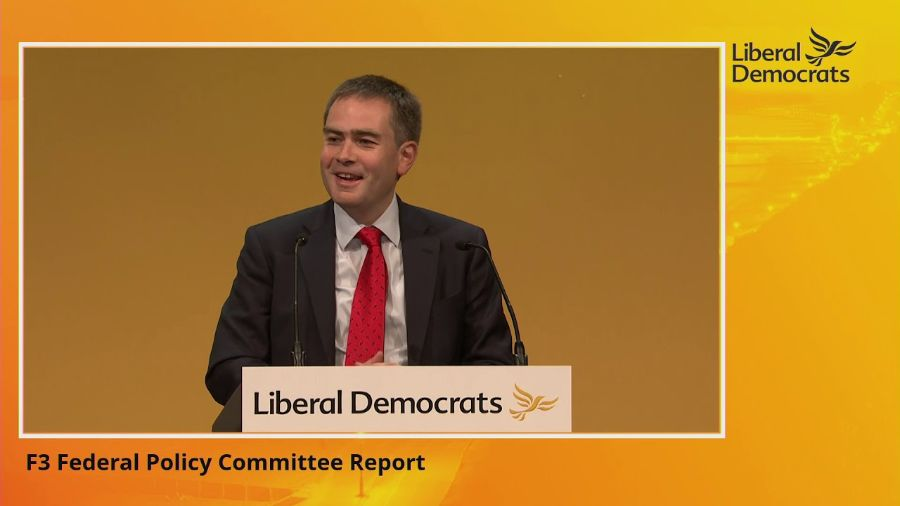Jeremy Hargreaves speaking at Lib Dem conference