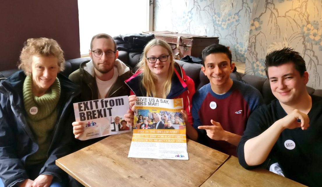 Lib Dem campaigners against Brexit in Nottingham - photo from @aadil_khan13 on Twitter