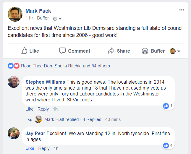 Westminster Lib Dems full candidate slate message from Facebook