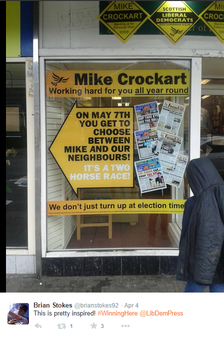 Lib Dem poster display in Mike Crockart's office