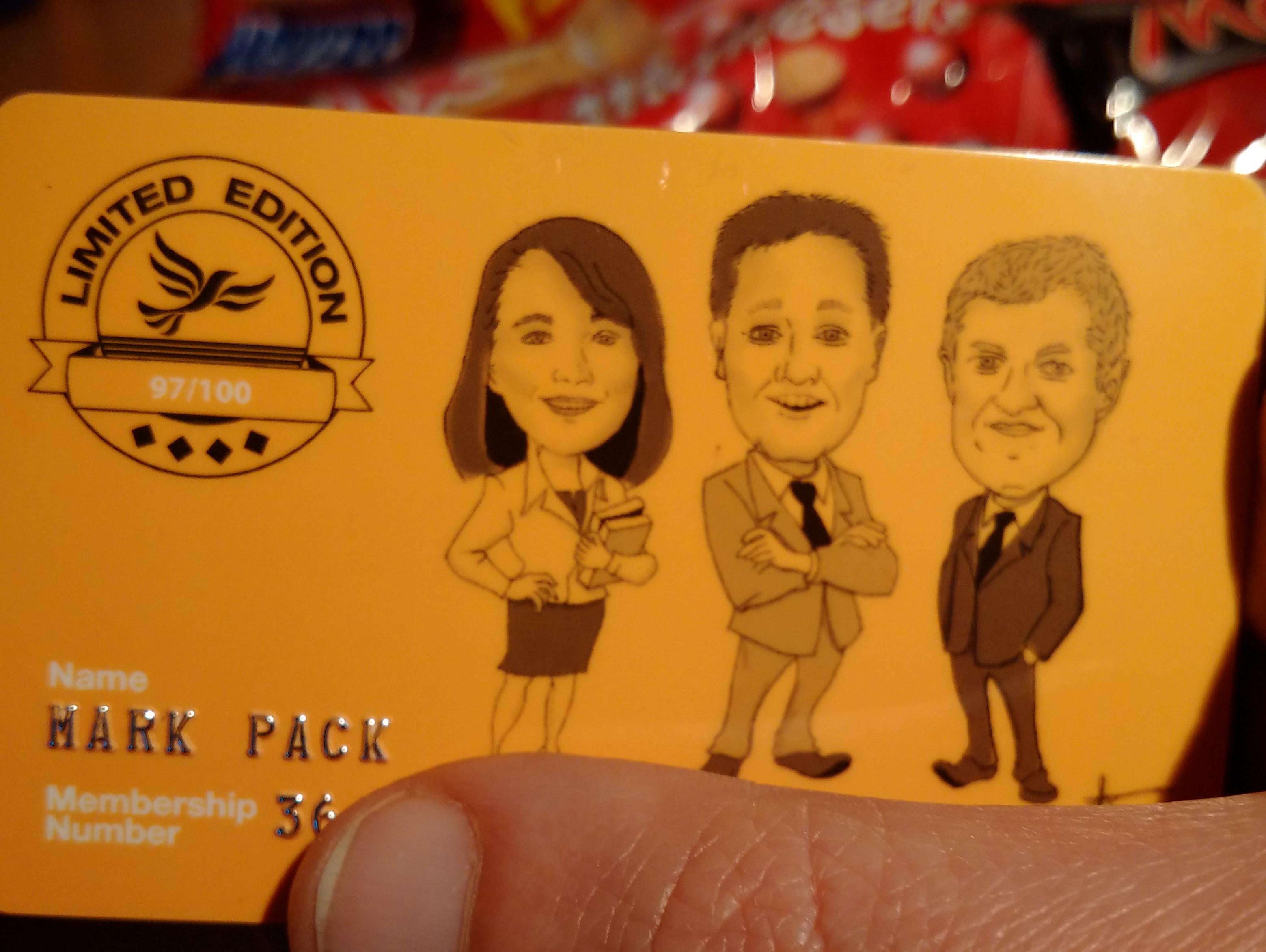 Lib Dem membership card, plus chocolate