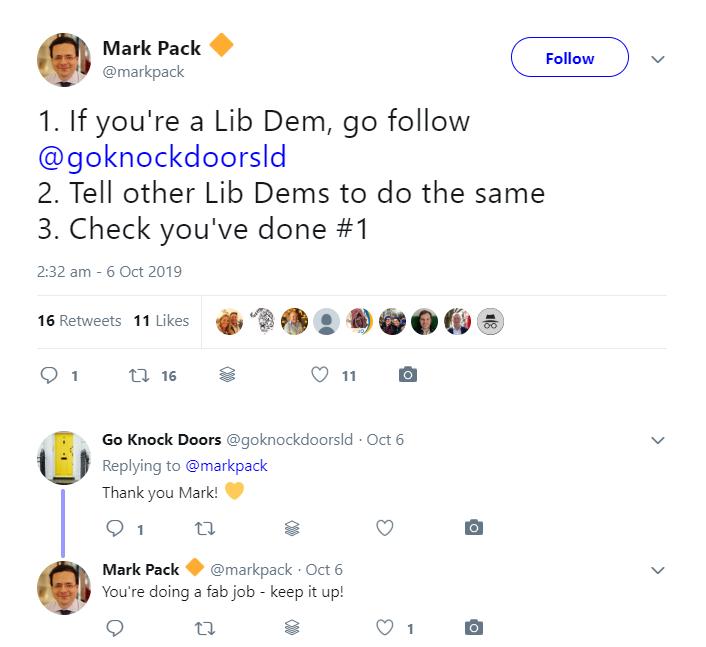 Screen capture of tweet from Mark Pack encouraging people to follow @goknockdoorsld