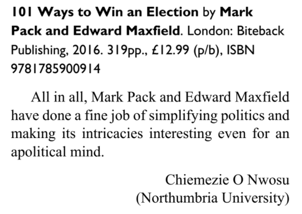 101 Ways To Win An Election - book review