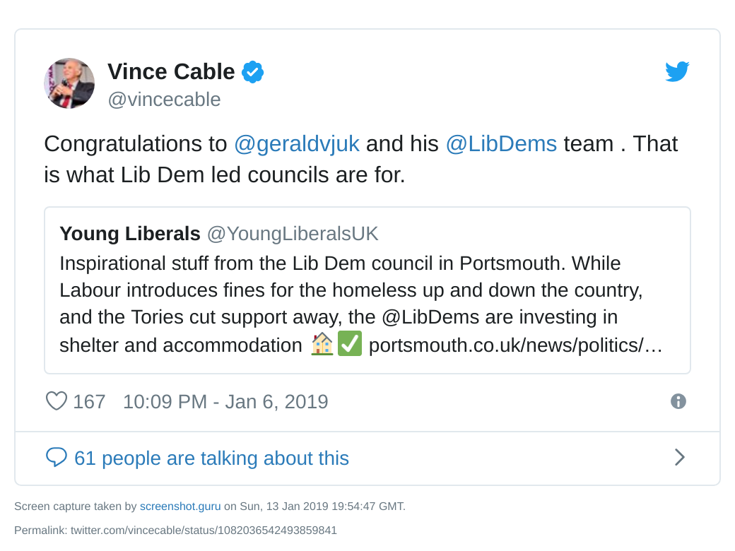 Vince Cable tweet on tackling homelessness
