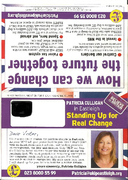 Ukip Eastleigh leaflet