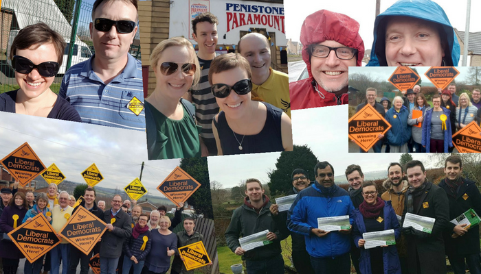Rotherham and Barnsley Lib Dems campaigning in all weathers - photo from the local party