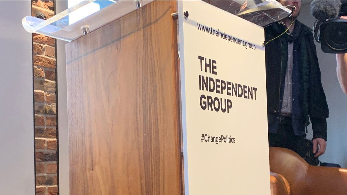 The Independent Group podium at their launch