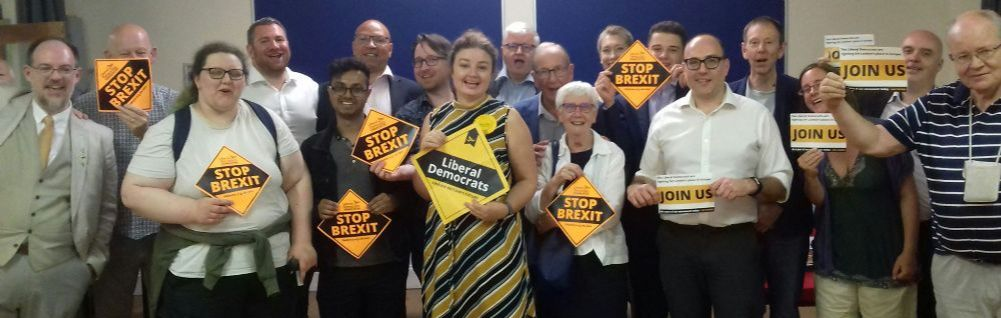 Rhian O'Connor with Greenwich and Woolwich Liberal Democrats. Photo via https://twitter.com/GreenwichRhian/status/1147064449880219648
