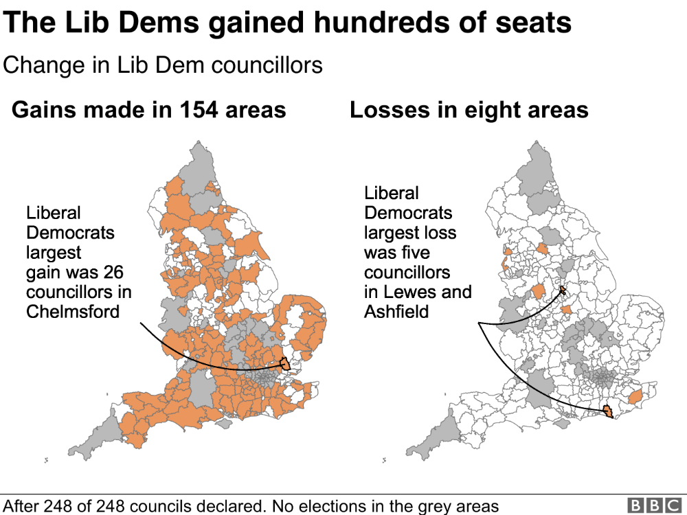 BBC map of Lib Dem election results in 2019