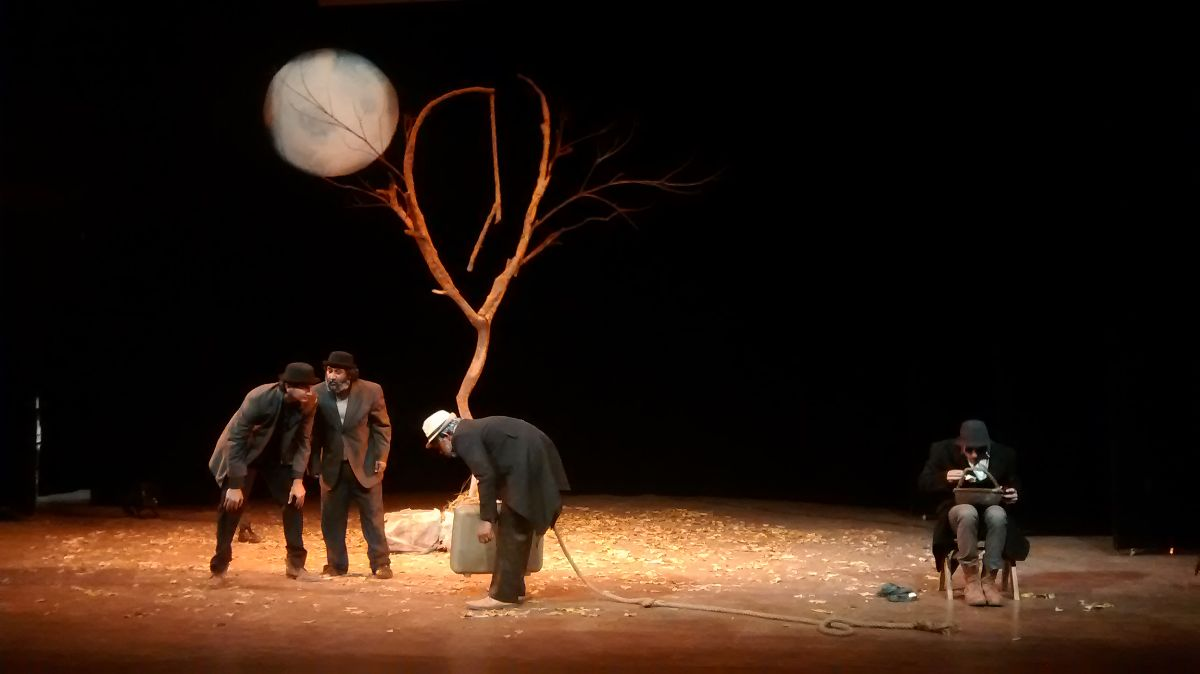 Stage scene from a production of Waiting for Godot - photo via Wikimedia Commons