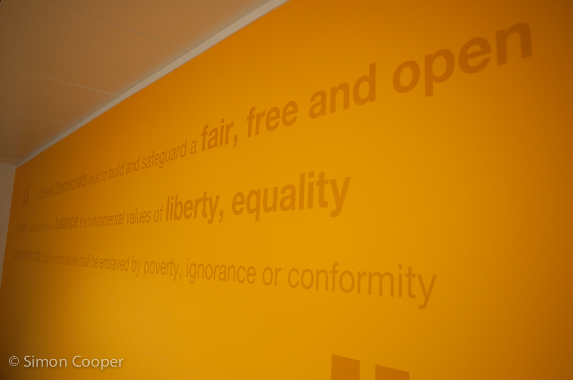 The reception wall at Lib Dem HQ, Great George Street